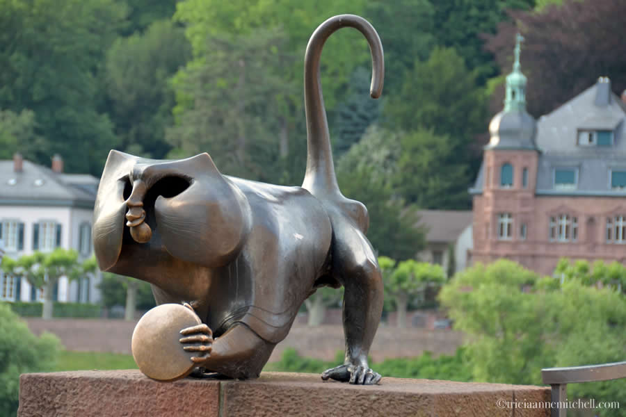 A monkey sculpture near Heidelberg, Germany's Old Bridge.