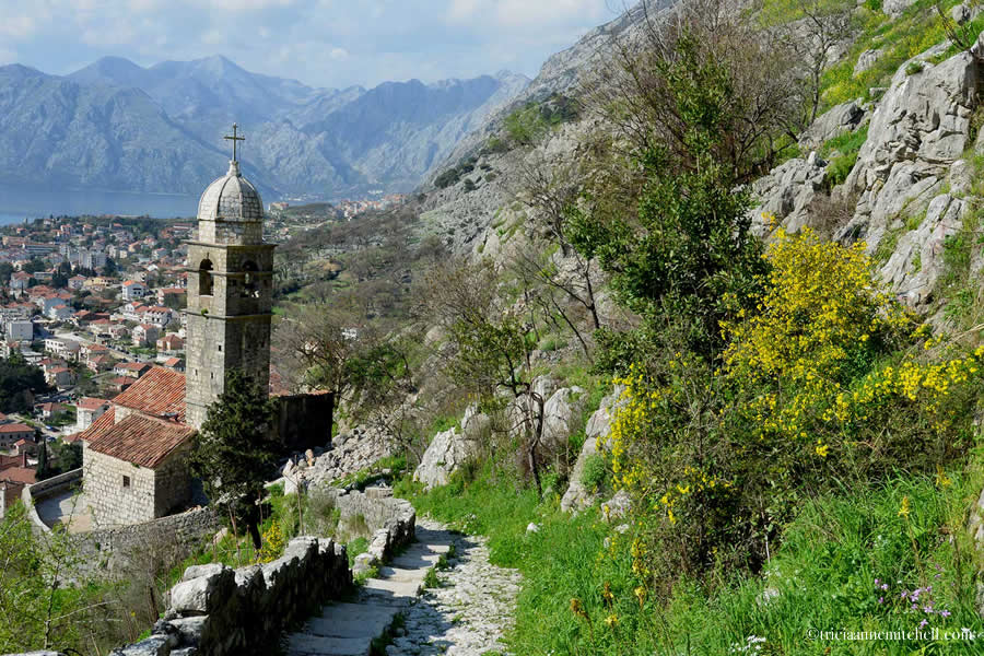 A small stone chapel is framed by mountains, green grass, and yellow flowers, near the town of Kotor, Montenegro.