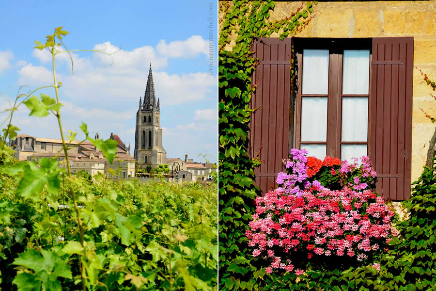 Saint-Emilion Church and Flowers