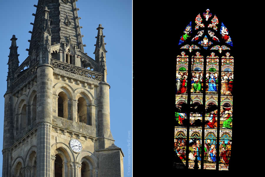 Saint-Emilion Church and Stained Glass Window