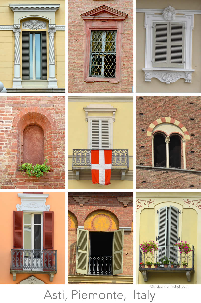 A collage of 9 different windows (and architectural styles) in the city of Asti, in Italy's Piemonte region.