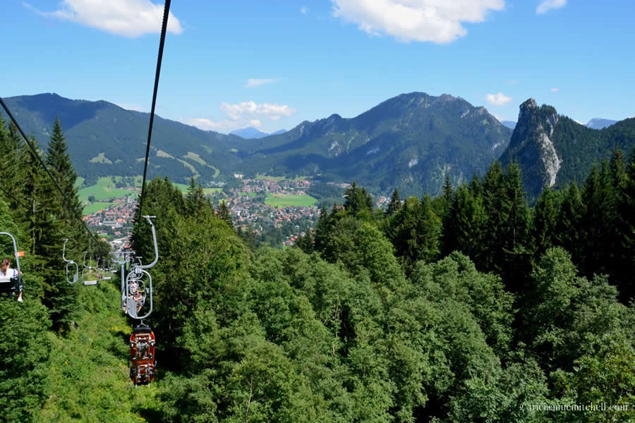 Kolbensattel Sesselbahn Chair Lift View of Oberammergau Laber Kofel