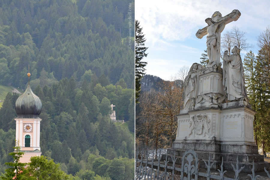 There are two photos. In the image on the left, a church belltower is visible, as is a stone monument with a cross. On the right is a close-up of this Crucifixion Monument in Oberammergau, Germany. The stone is white, and several human figures are visible.