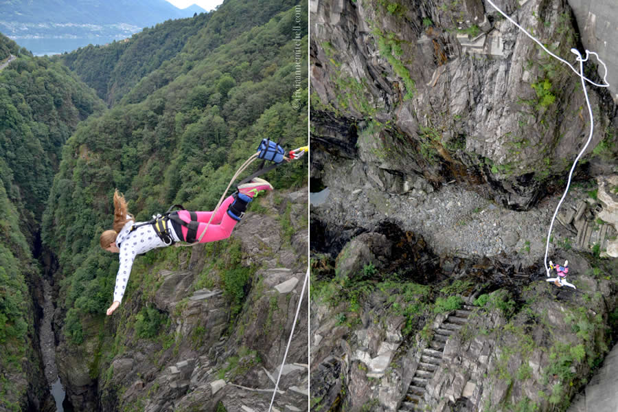 Bungee jumping Verzasca Dam Switzerland