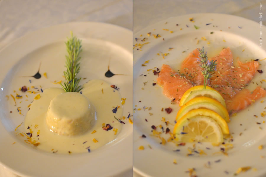 La Riserva del Gusto Monferrato Antipasti Flan and Fresh Salmon