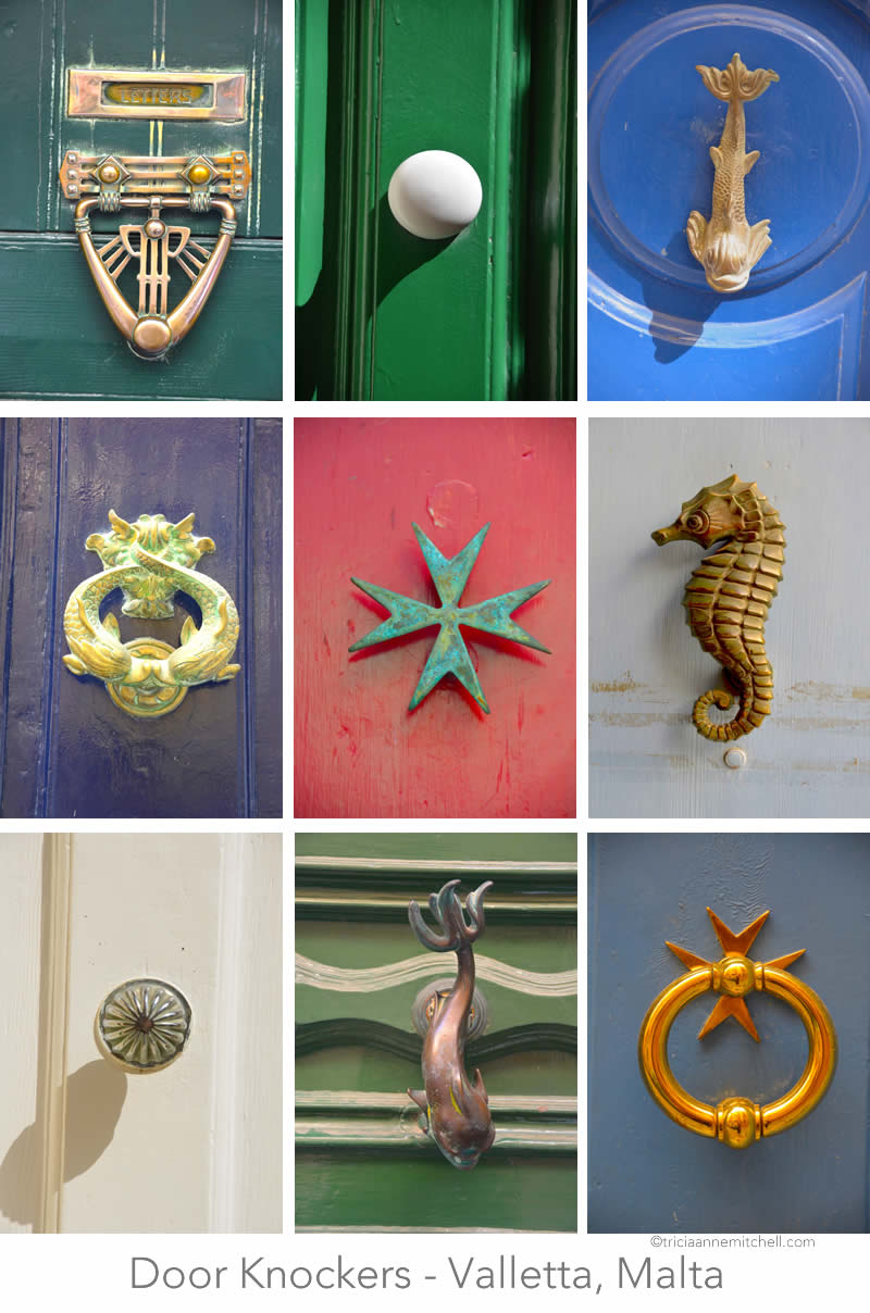 A collage of 9 Door Knockers in the city of Valletta Malta