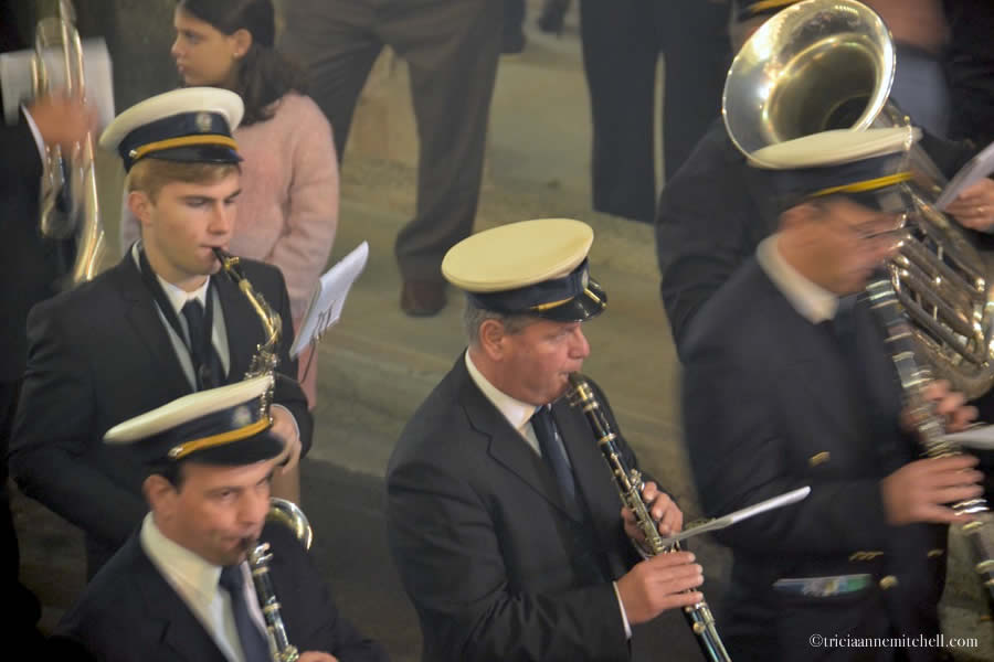 Band members play clarinets and saxophones at a Maltese feast day celebration in the city of Bormla / Cospicua.