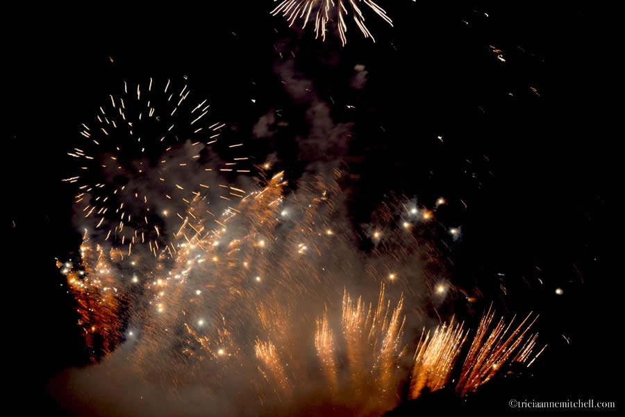 Fireworks light up the night sky at a Maltese festa celebration in the city of Bormla / Cospicua.