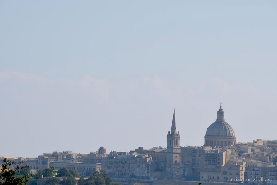 A church dome and church steeple make up Valletta's skyline