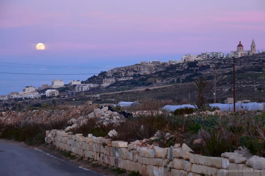 Maltese countryside full moon