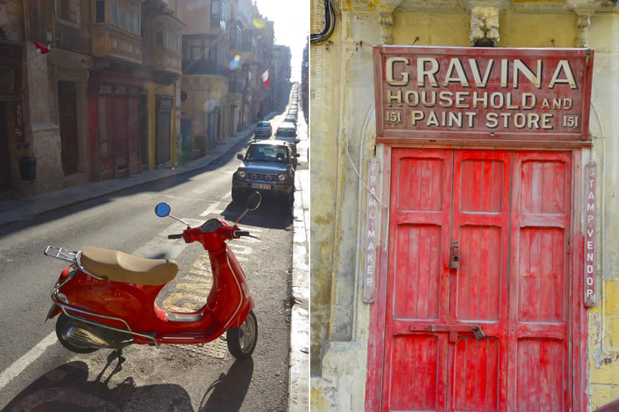 Valletta Vespa Scooter and Vintage Storefront with Red Door