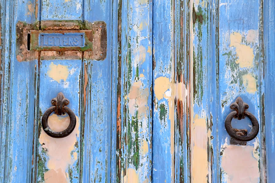 Valletta weathered blue door letter slot