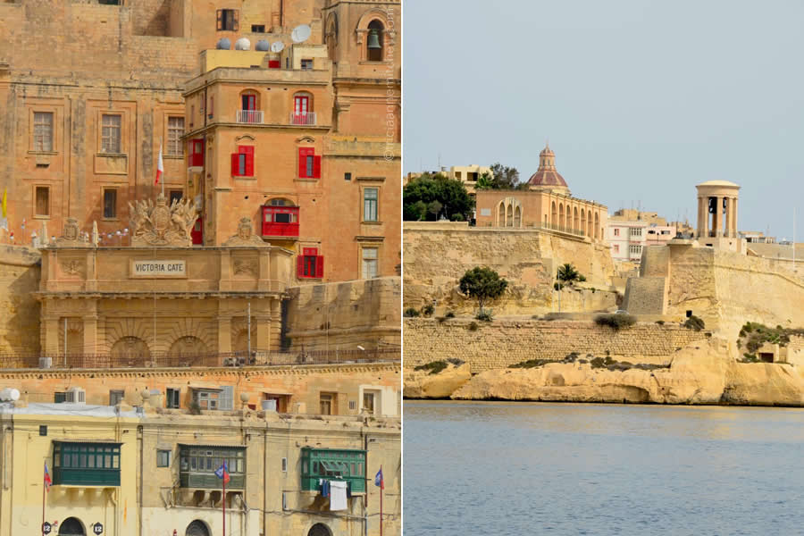 Valletta View from Grand Harbour Victoria Gate Lower Barrakka Gardens Siege Bell