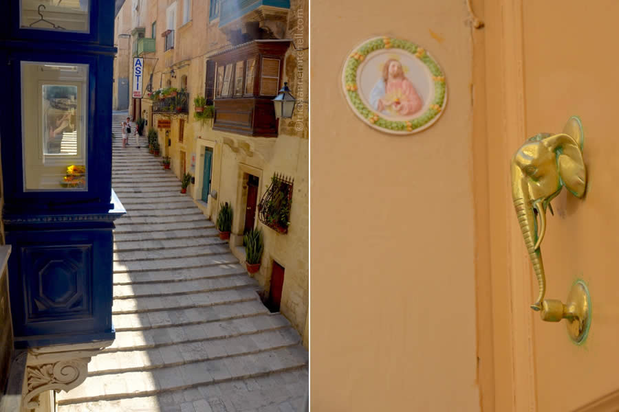 Valletta door knocker and balcony Malta