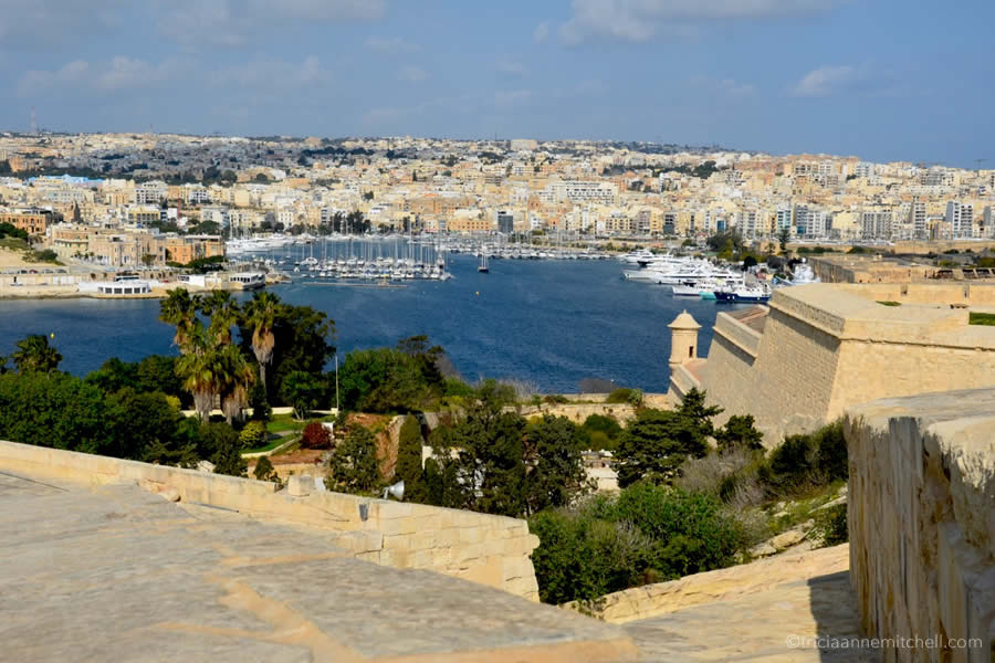View from Hastings Gardens Valletta Malta