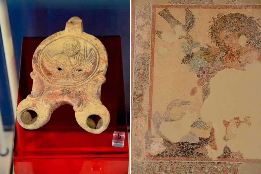 Roman oil lamp mosaic floor Domus Romana Malta