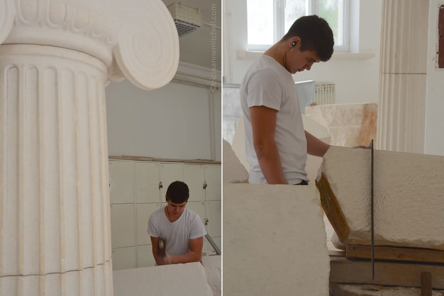 In the photograph on the left, a student at the Stonemason School in Pučišća, Croatia, uses a hammer to pound a large block of white limestone. In the photo on the right, he looks at the large block of white limestone. He is wearing earbuds.