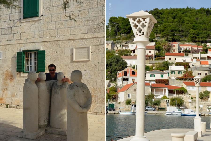 pucisca-brac-croatia-limestone-lamp-post-klapa-singer-sculpture