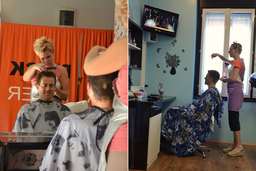 A woman cuts a man's hair in Novi Sad Serbia (left), and a stylist cuts a man's hair at a salon in Pula, Croatia (right).