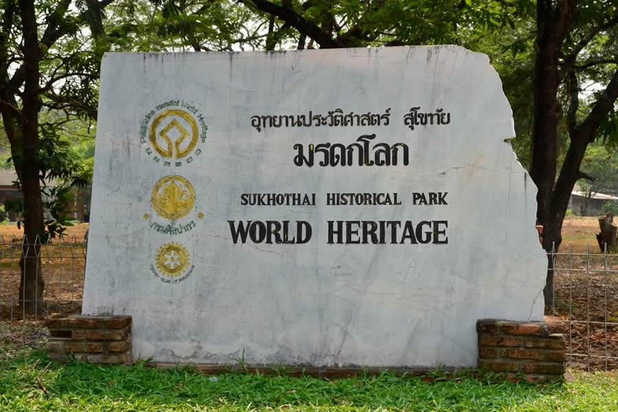 A sign at the entrance to Sukhothai Historical Park, a UNESCO World Heritage Site.