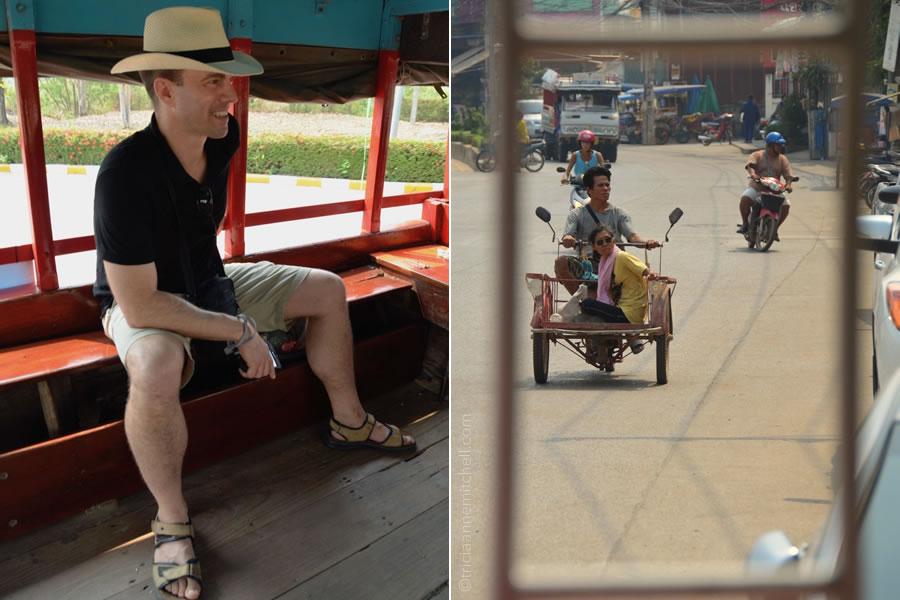 A man rides the shuttle that goes from Sukhothai's bus station to the historical park.