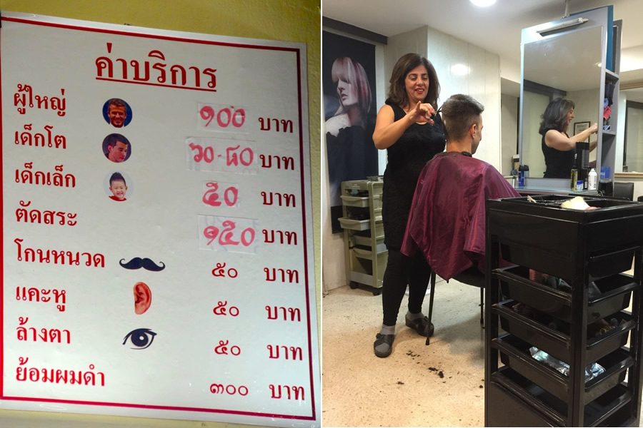 Prices for barber shop services in Thailand (left), and a woman cuts a man's hair in a Valletta, Malta hair salon (right)