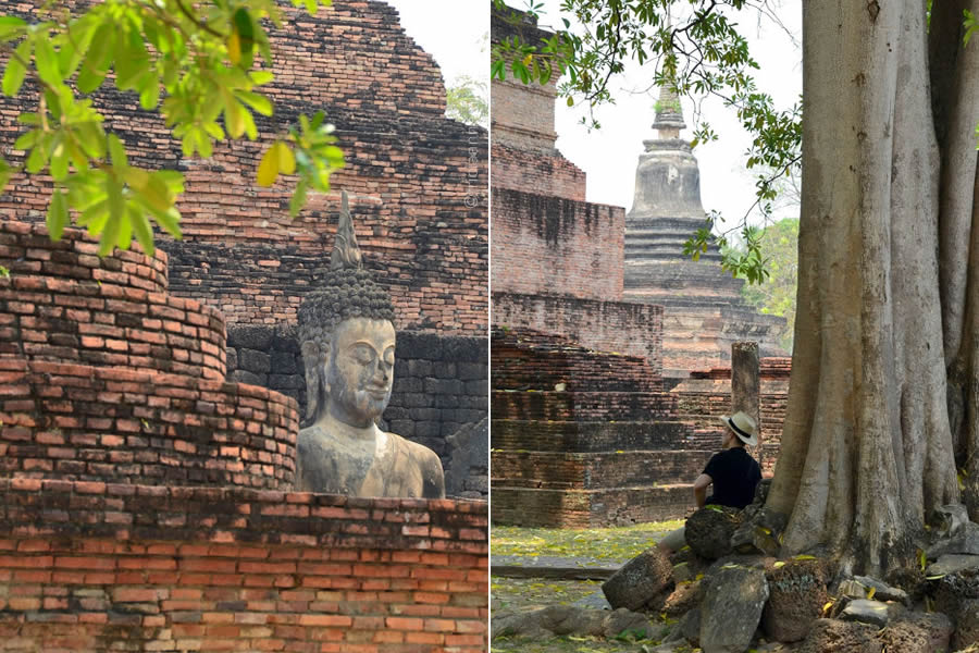 A man sits on the grounds of Wat Mahathat Temple in Sukhothai Thailand.