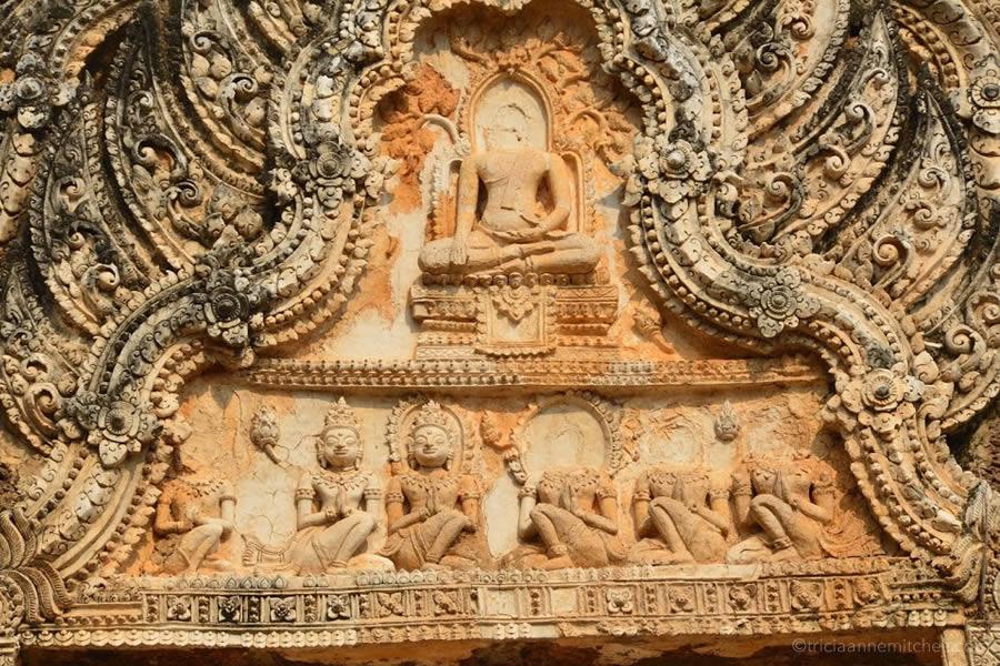 Detail of Wat Phrapai Luang's restored facade.