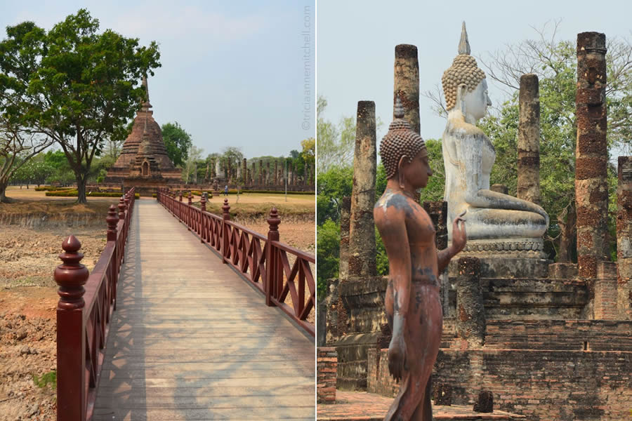 A walkway and Buddha statue at Wat Sa Si Temple in Sukhothai Historical Park, Thailand.