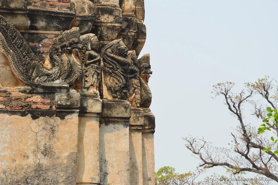 Wat Si Sawai detail of architecture Sukhothai Thailand