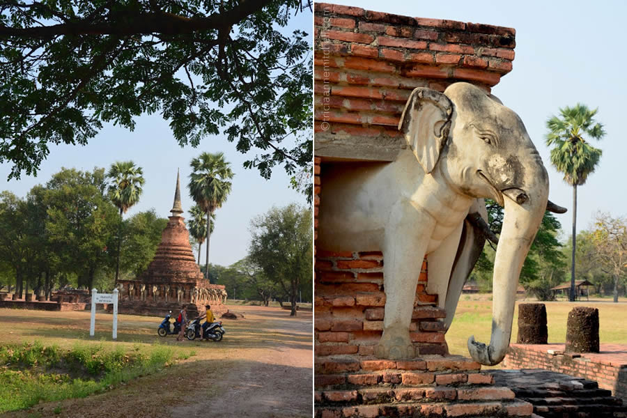 The exterior of Wat Sorasak Temple is adorned with elephant statues.