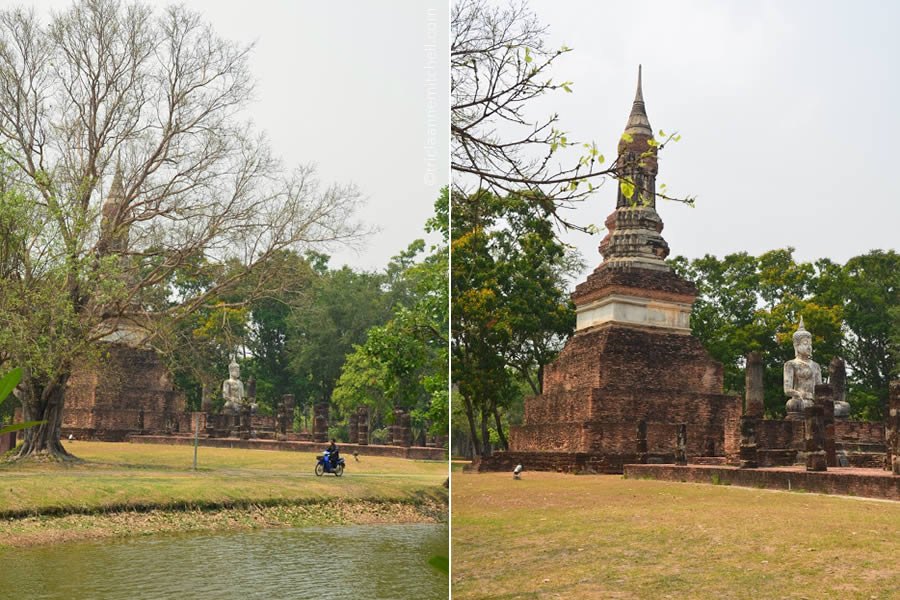 A man riding a motorbike drives in front of Wat Traphang Ngoen in Sukhothai Historic Park.