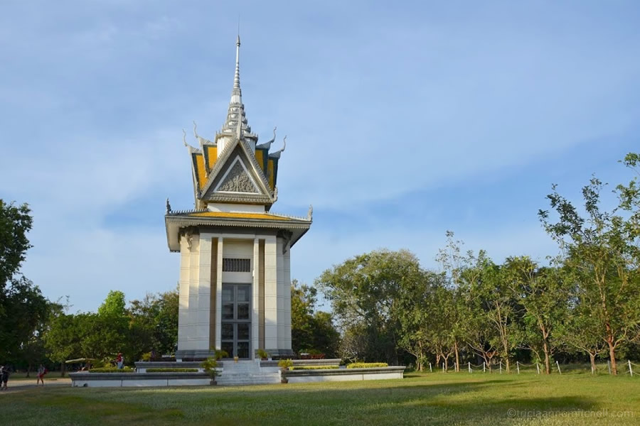 Choeung Ek Killing Fields Stupa and grounds.