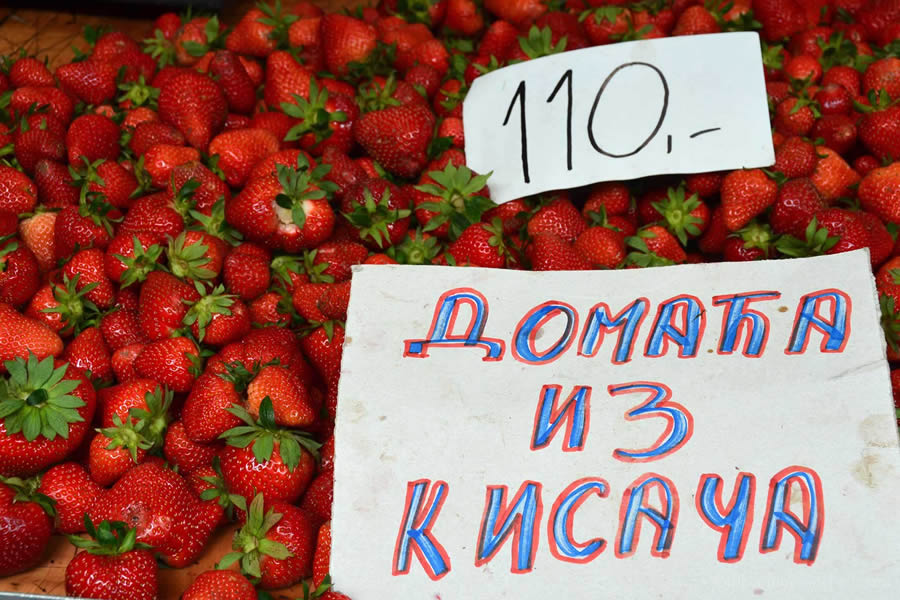 Strawberries for sale at Novi Sad's fresh market, in Serbia.