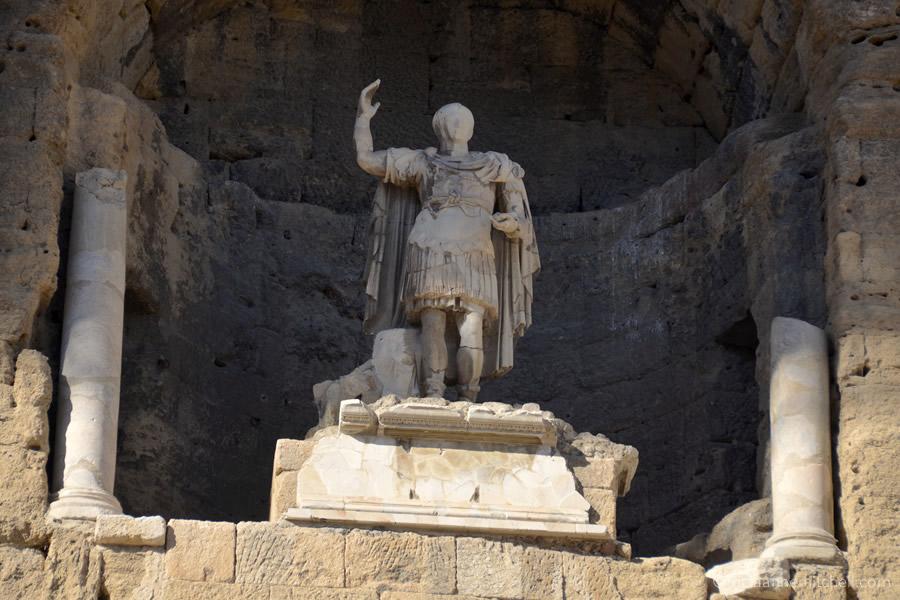 The statue of Roman Emperor Augustus at Orange's Theatre Antique in Orange, France.