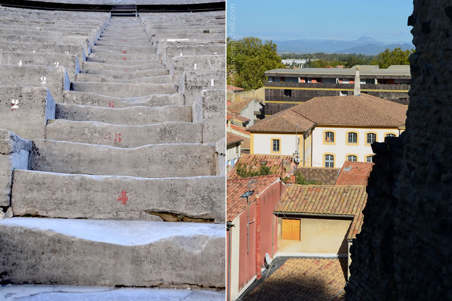 The worn stairs of Orange's Theatre Antique (left) and views of the city of Orange, France (right).