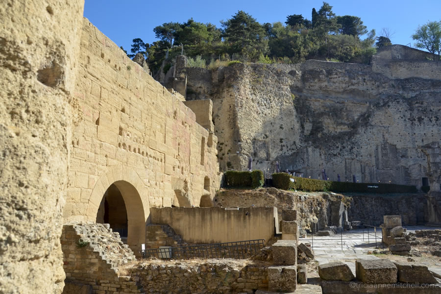 The interior of Orange, France's Theatre Antique, or Roman theater.
