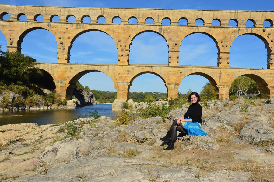 Sitting near the Pont du Gard.