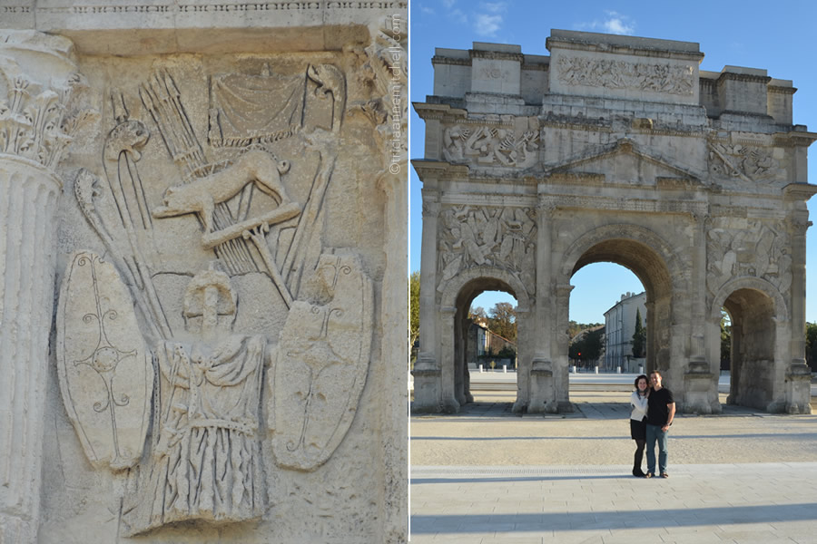 A close-up of the architectural detail of the Triumphal Arch of Orange, France