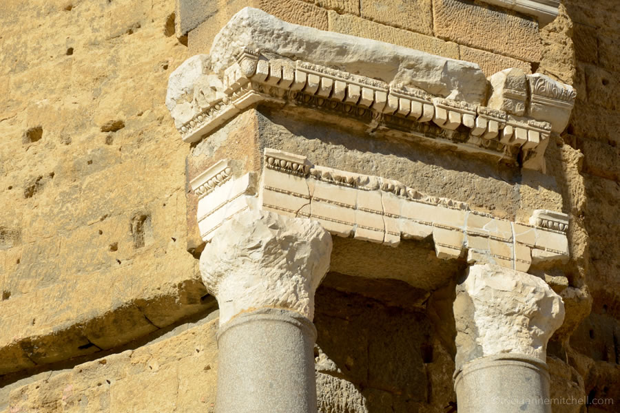 Detail of the Roman columns at the Theatre Antique in Orange, France