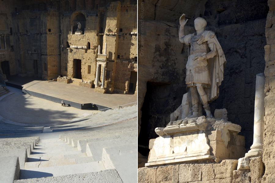 The staircase and Emperor Augustus statue at the Roman Theater in Orange, France.