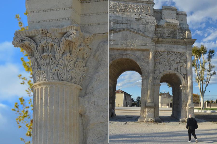A Roman's column's detail of the Triumphal Arch of Orange, France