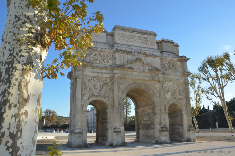 The Triumphal Arch of Orange, France, framed by a tree's foliage.