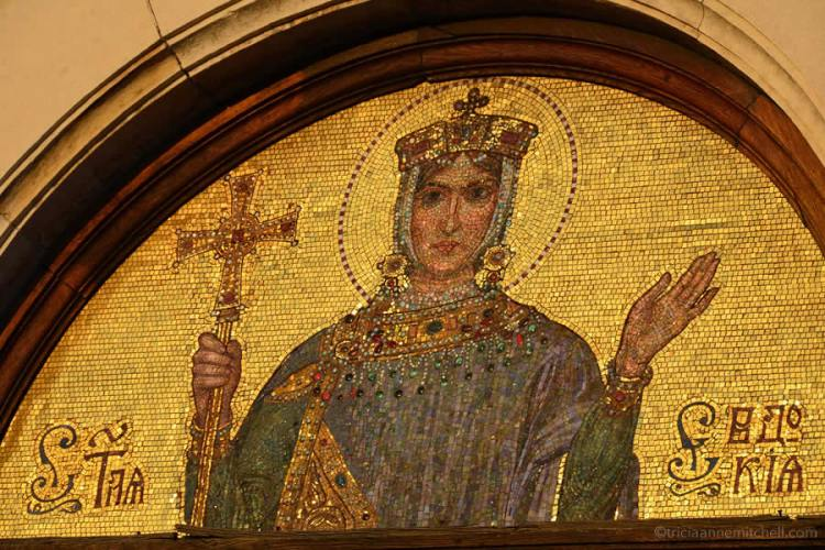 Golden mosaic on the Alexander Nevsky Cathedral in Sofia, Bulgaria.
