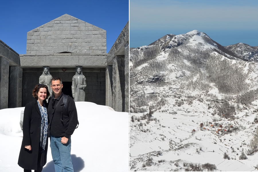 The Njegoš Mausoleum and the surroundings of Lovcen National Park are covered in snow.