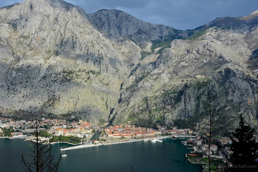 View of Bay of Kotor and Kotor Old Town from Vrmac.