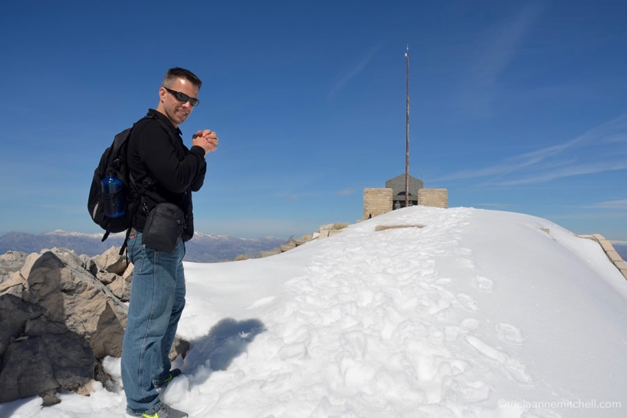 The Njegoš Mausoleum in Lovcen National Park Montenegro snow winter