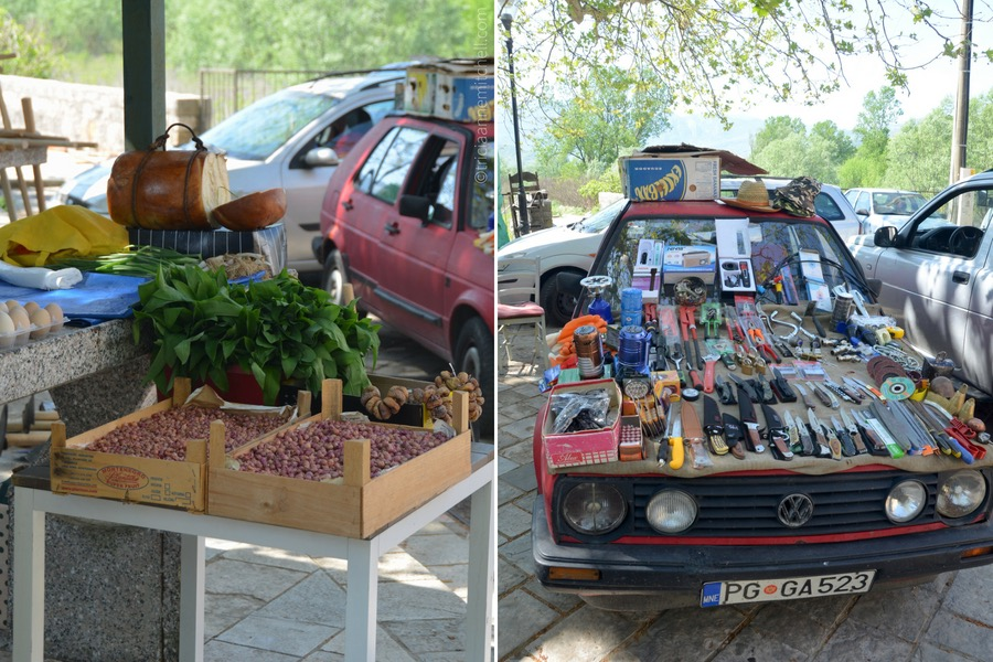 Wild garlic, onions, and hardware for sale at Virpazar's fresh market / flea market near Lake Skadar, Montenegro.