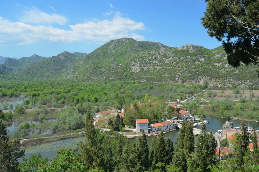 Overhead view of Virpazar, from the Besac Fortress, near Lake Skadar, Montenegro.