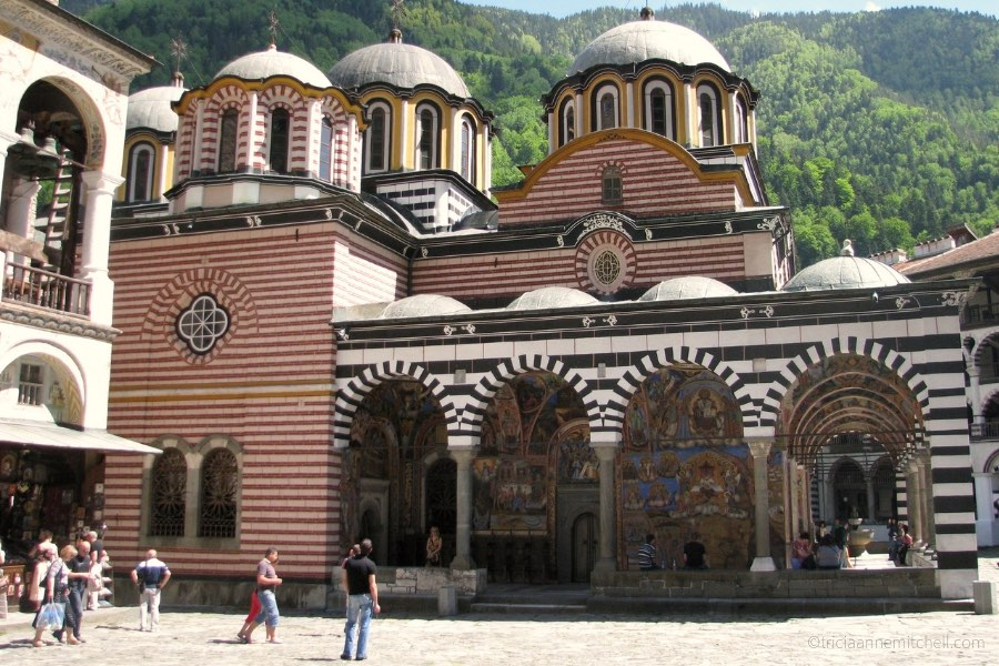 The colorful exterior of the Rila Monastery in Bulgaria.